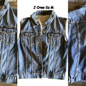 J Crew Denim Vest Sleeveless Jeans Jacket sz M